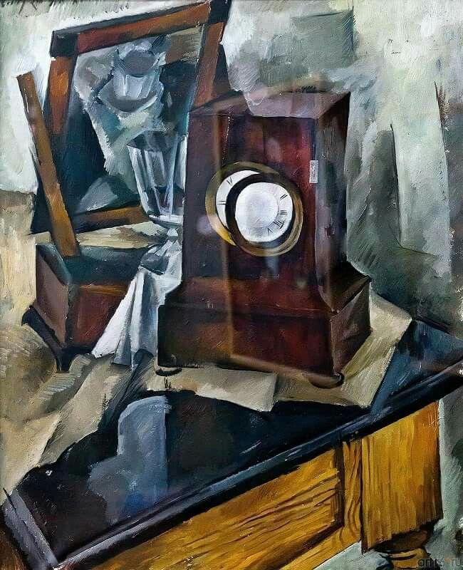 Осмеркин Александр Александрович (1892-1953) «Натюрморт с часами» 1920  #Александр_Осмеркин #1920_е_ссср #натюрморт_ссср