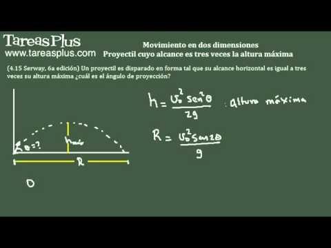 Movimiento en dos dimensiones – proyectil que alcance es tres veces la altura máxima