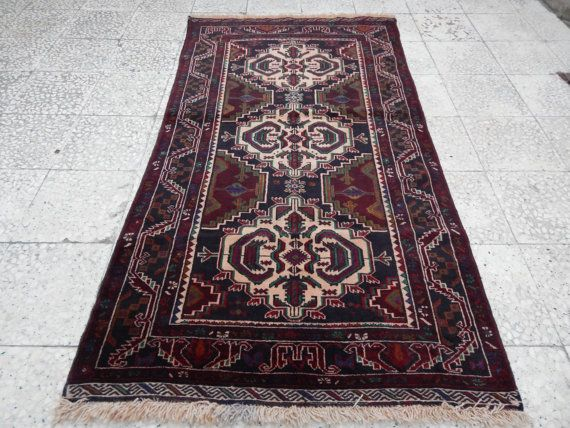 Medium Sized Super Quality Vintage Tribal Turkmen Afghan Baluch Rug ,Traditional Asian Rug Handwoven with % 100 wool 3'5''X6'1'' / 105x185cm