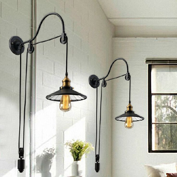Discount Vintage Pulleys Black Retro Vintage Adjustable Pulley Length Iron  Glass Reading Wall Lamps Led Lights Sconce For Bathroom Bedroom Office Bar