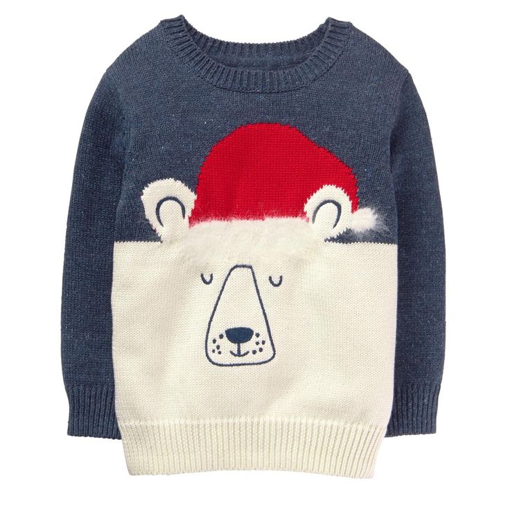 Toddler Boy Foggy Grey Santa Bear Sweater by Gymboree