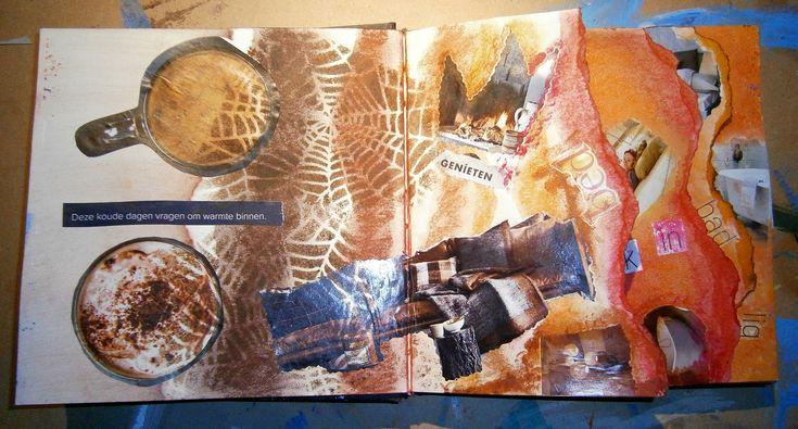 Art Journal over meerdere pagina's. Elke pagina vertelt een eigen verhaal. Pastelkrijt, Acrylverf #Amsterdam #artjournal #artjournalling
