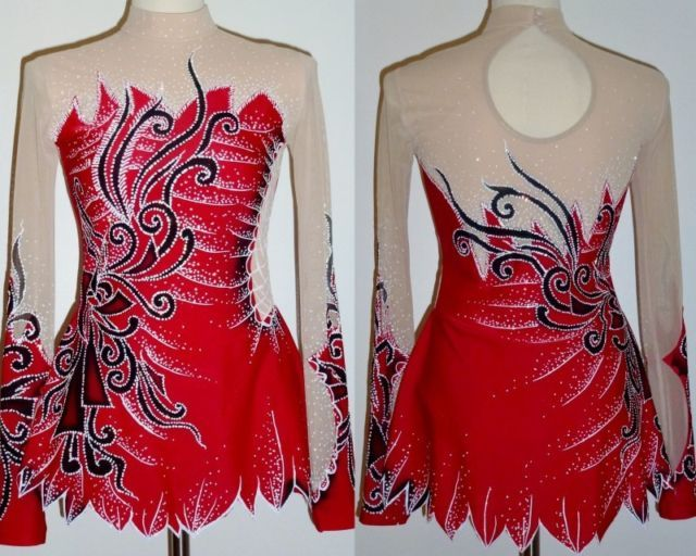 Red Skating dress/Rhythmic gymnastics leotard/Baton Twirling Costume Made to Fit | eBay