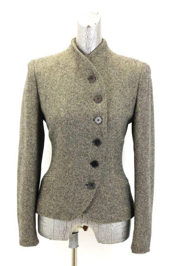 womens black tan RALPH LAUREN tweed blazer riding jacket asymmetrical wool M 8 #RalphLauren #Blazer