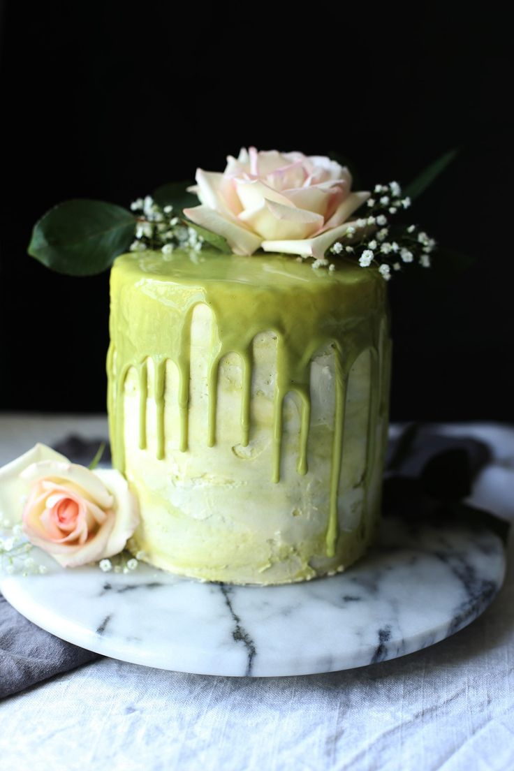Honey Cake with a Matcha Meringue Buttercream