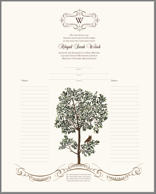 Owl in a Tree Baby Baptism Certificate | Christening ...