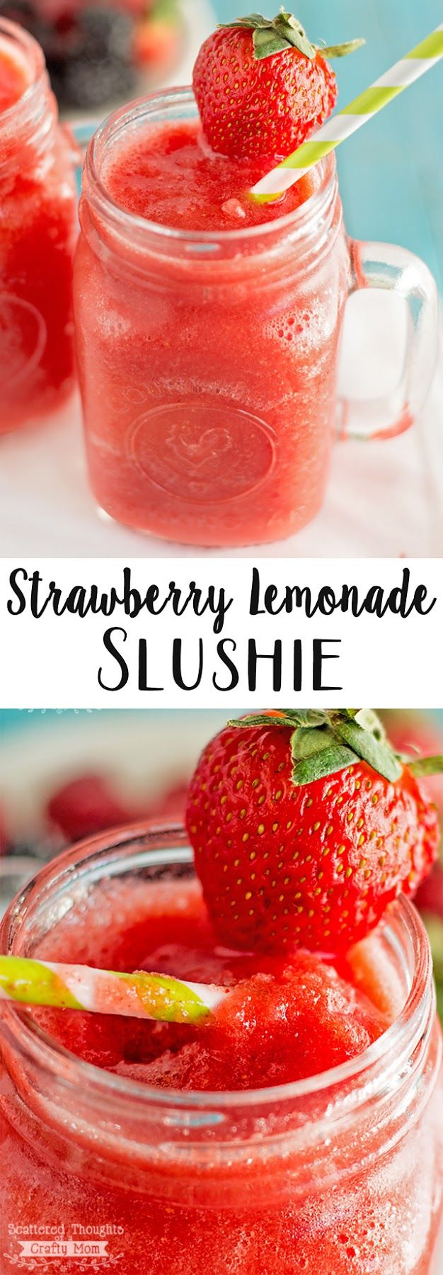 Strawberry Lemonade Slushies:  Ingredients:  12 oz frozen strawberries (about 2 heaping cups).   1-1/2 cups prepared lemonade.   Optional:  1 to 2 tsp of sugar, it will just depend how sweet your strawberries are- give it a taste.    Directions: Add lemonade to the blender and then strawberries.  Blend until you have desired slushie consistency!