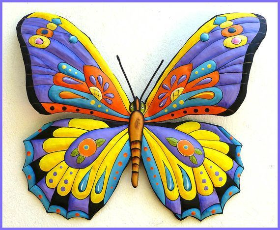 Painted Metal Butterfly Wall Art, Whimsical Art Design, Tropical Colros, Funky Art Wall Hanging, Haitian Art, Patio Decor - by TropicAccents