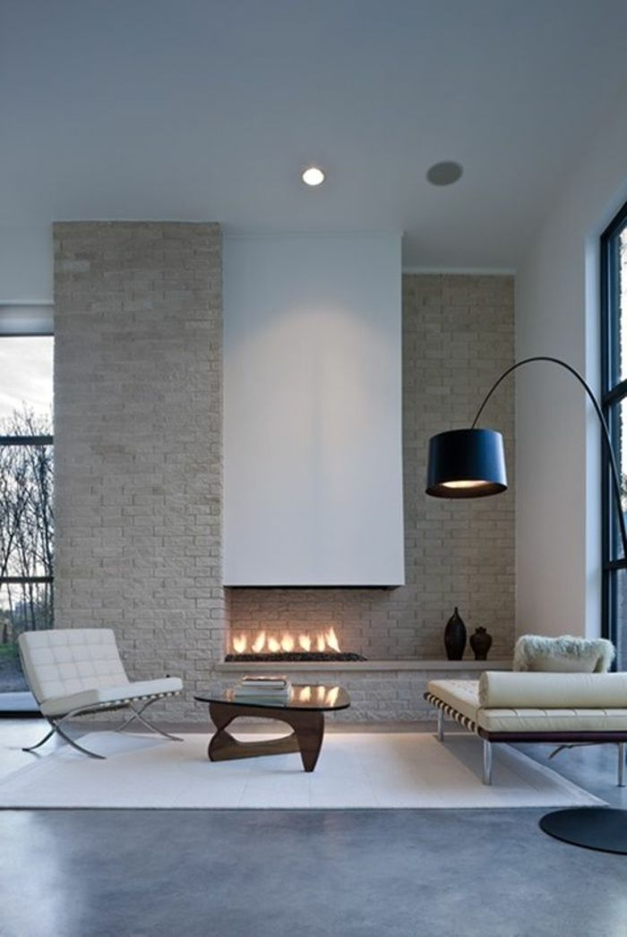 comment bien decorer les murs dans le salon, cheminee d interieur, parement pierre naturelle