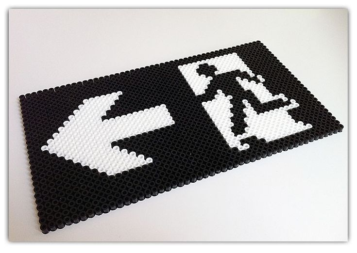 Exit sign hama perler by Kure Martin