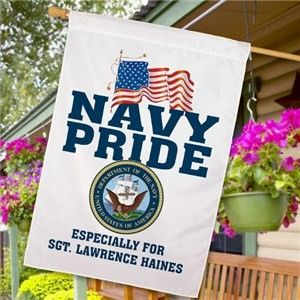 Personalized US Navy Military Pride House Flag