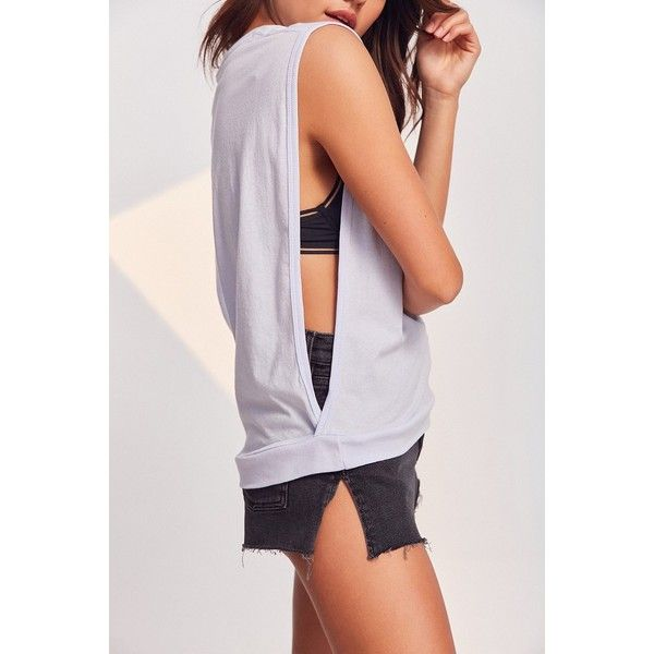 BDG 1985 Drop Armhole Muscle Tank Top ($29) ❤ liked on Polyvore featuring tops, extra-long tank tops, extra long cami tanks, crop tank, muscle tank and cami tank tops