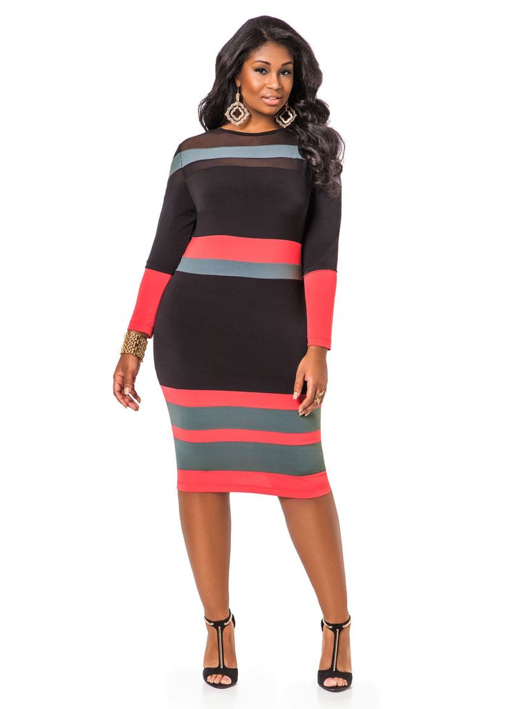 Mesh Yoke Tricolor Dress - Ashley Stewart