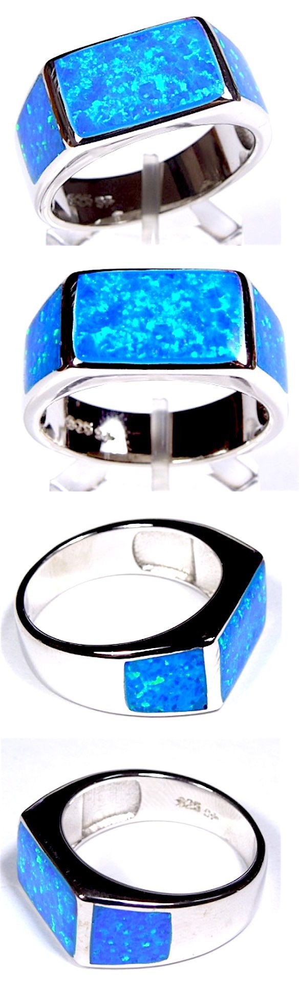 Men Jewelry: Blue Fire Opal Inlay Genuine 925 Sterling Silver Mens Ring Size 9-13 BUY IT NOW ONLY: $50.0