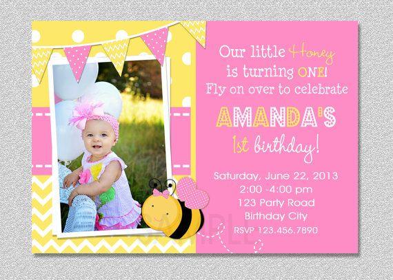 Pink Bumble Bee Birthday Invitation 1st Printable Via Etsy