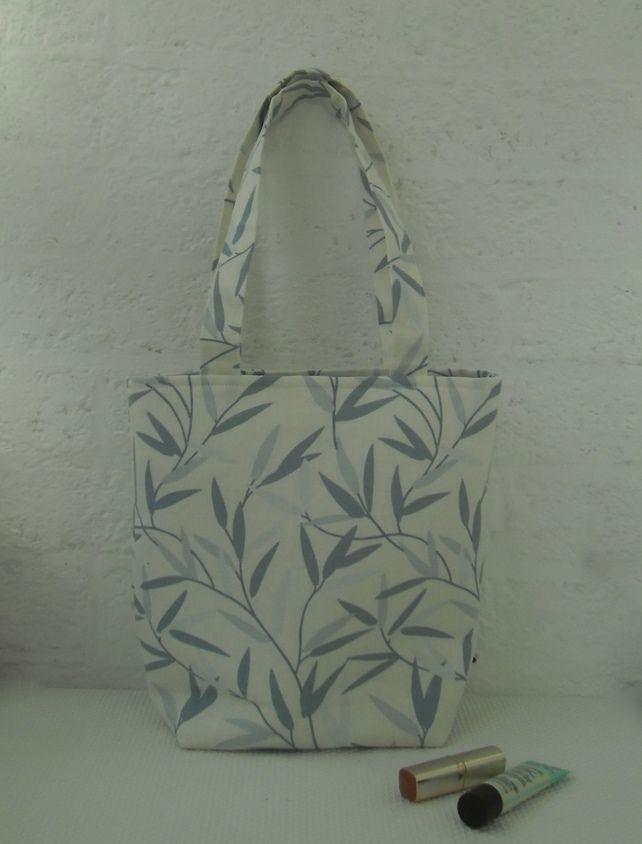 da99819e5d Tote bag long handles in blue leaf print Laura Ashley fabric £15.00