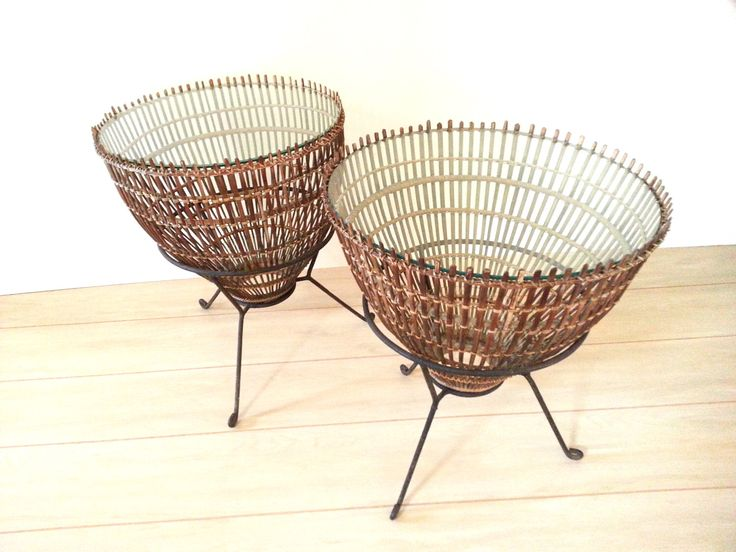 Side Tables Mid-Century Modern Franco Albini Rattan, Iron and Glass Side Tables by LUCKYHOMEFINDS on Etsy https://www.etsy.com/listing/256161492/side-tables-mid-century-modern-franco