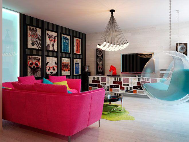 Интерьер гостиной - Дизайн интерьера квартиры в стиле Поп-арт Энди Уорхола