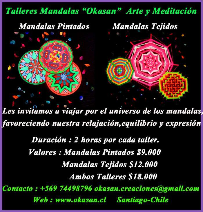 """TALLERES DE MANDALAS  SABADO 12 de MARZO ! Nos reuniremos y viajaremos hacia nuestro interior, a través del Arte y Meditación de Mandalas <3. Consultas y Reservas de Cupo en okasancreaciones@gmail.com y te enviaremos los horarios (Jornada Mañana y Tarde) y todo lo que necesitas saber para participar . Nos vemos !  Web : www.okasan.cl Fan Page """"Okasan Clases y Talleres"""" https://www.facebook.com/pages/Okasan-Clases-y-Talleres/301905966651834   (y)"""