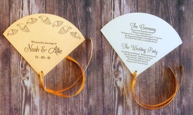 Seashell Design Fan Wedding Programme