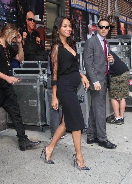 Zoe Saldana sur les plateaux de The Late Show à New York le 30 juillet 2014