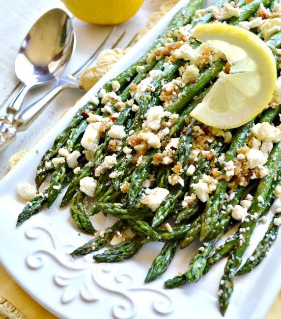 Roasted Garlic Asparagus with Feta   #glutenfree #grainfree #vegetarian