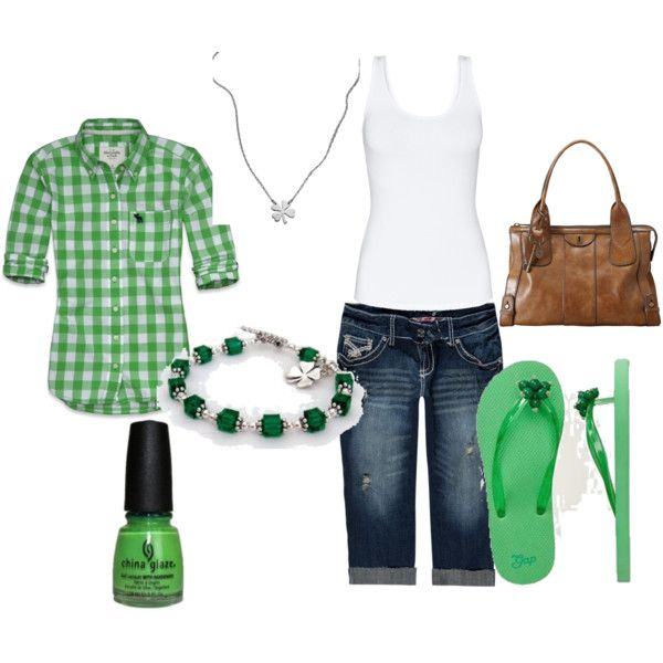 green <3: Irish Girls, Day Outfits, Style, Green Outfits, Green Purses, St. Patrick'S Day, Plaid Shirts, Closet, Casual Outfits