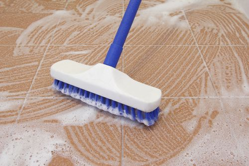 Deep cleaning tile floor
