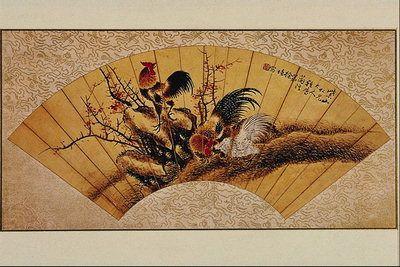 Веер с изображением птиц