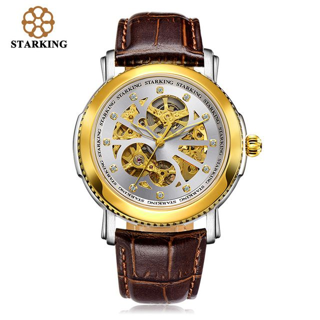 STARKING Luxury Mechanical Watch Men 50m Water Resistant Automatic Hollow Gold Oyster Watches AM0189 montre automatique homme