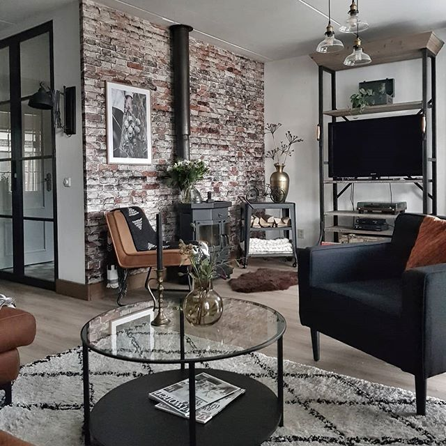 Brick Wall Woodburner And Monochrome Rug In A Hygge Living Room Living Industrial Style Living Room Industrial Decor Living Room Brick Wallpaper Living Room