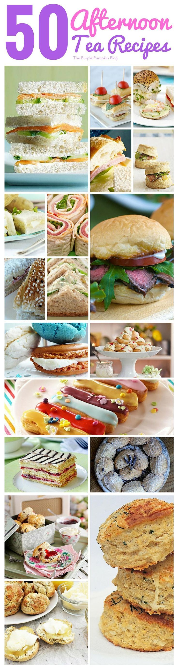 50 Afternoon Tea Recipes - from finger sandwiches, and savoury tarts, to scones, cakes, pastries, and patisserie. All the recipes you will need to host an afternoon tea party!