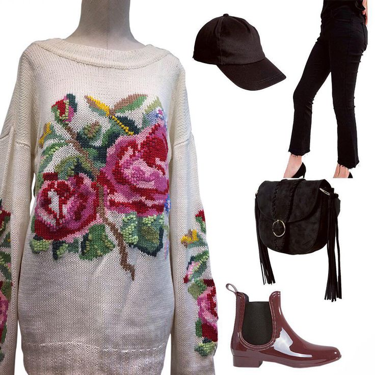 Autumn weather is capricious and unpredictable. Therefore, going for a walk, you need to ensure that nothing spoiled your mood! This stylish rubber chelsea boots and a plain baseball cap will save you from any bad weather, and warm and bright sweater with a pattern of roses. Adds to your look of femininity and romance! Add a shoulder bag and safely go for a walk in the beloved city! #russian #russianlooklm #lookmagazine