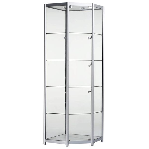 Aluminium Corner Trophy Cabinet, finished in a beautiful brushed aluminium, supplied with LED lights and locking doors.