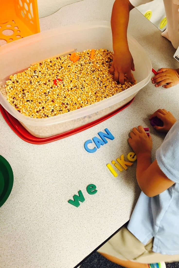 Sight word sensory tub activity.  Provide students with a list of words and have them search for the letters to make a word.