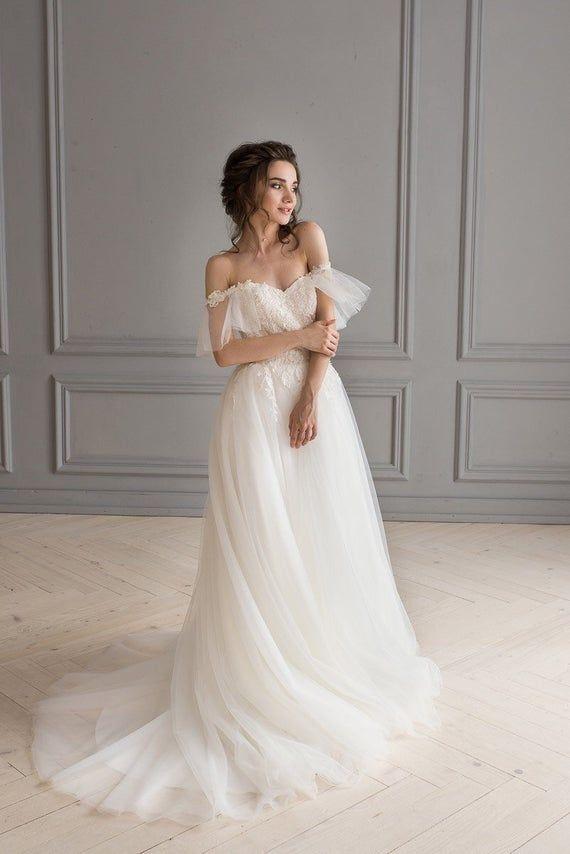 Romantic wedding dress, ivory tulle skirt, dress with wings Bohemian wedding dress Lace corset weddi