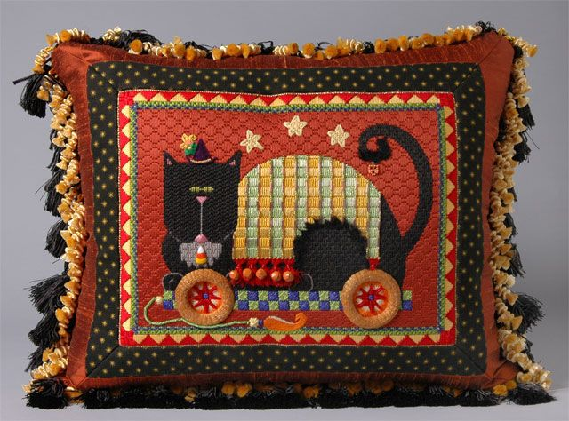 Amy's Golden Strand | Photo Gallery | Amy Bunger | Needlepoint black cat pull toy pillow