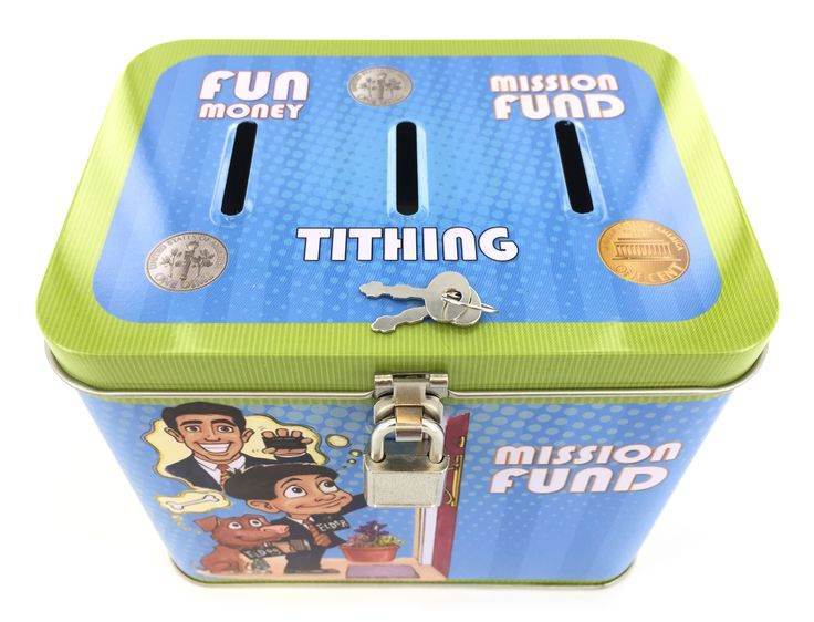 Boy's 3-Slot Tithing, Mission Fund, and Fun Money Tin Bank