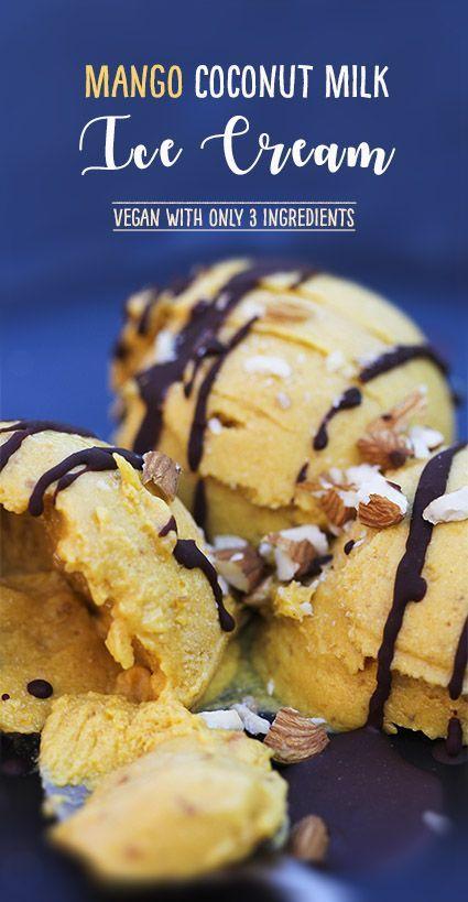 Mango coconut milk ice cream with dried mango and dates - #dairyfree #vegan by Trinity