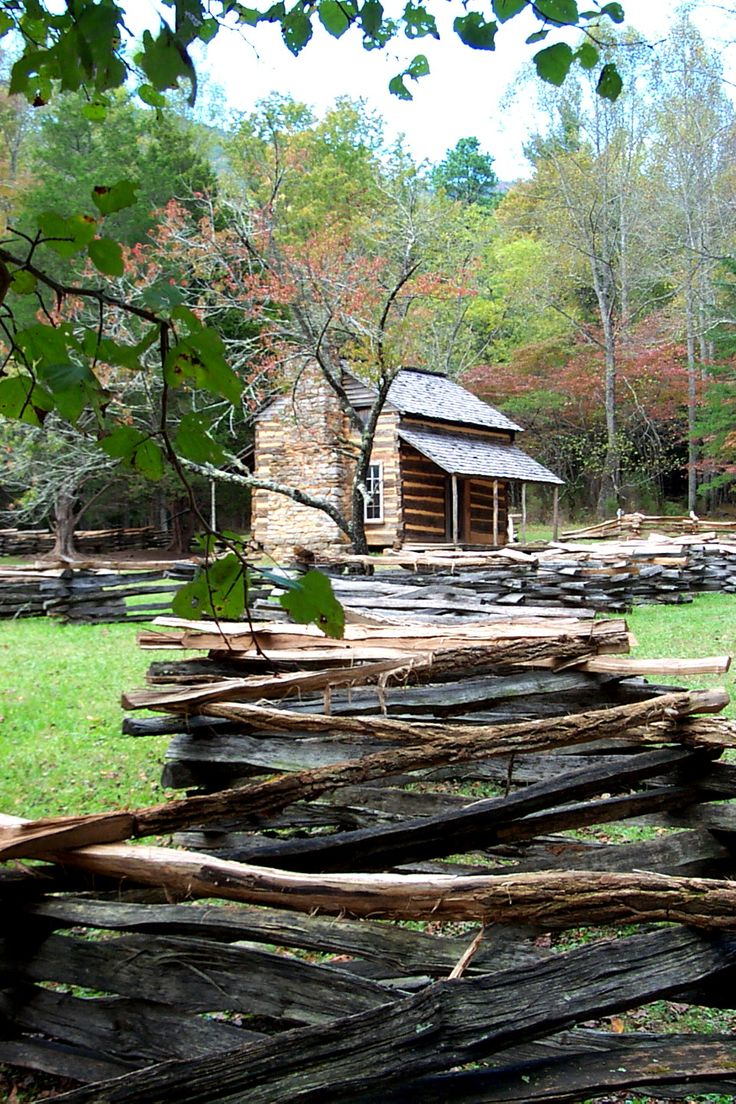 Cades Cove, Tennessee section of the Great Smoky Mountains National Park, USA - The Oliver's Cabin was the first in the Smokies.