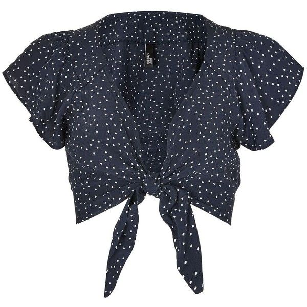 Ria Dot Tie Front Top by Nobody's Child ($20) ❤ liked on Polyvore featuring tops, navy blue, navy top, frill top, navy blue polka dot top, flutter-sleeve top and navy ruffle top