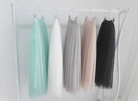 A fluffy gauze/tulle maxi skirt made for going out on the town or, paired with a kick butt top, going to the fanciest occasions!    Size s/m    Comes in:  White, black, grey, cream, mint and pink!