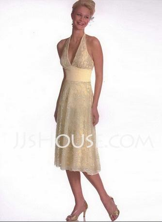 Bridesmaid Dresses - $103.99 - Sheath Halter Tea-Length Charmeuse  Lace Bridesmaid Dresses With Lace (007001132) http://jjshouse.com/Sheath-Halter-Tea-length-Charmeuse--Lace-Bridesmaid-Dresses-With-Lace-007001132-g1132