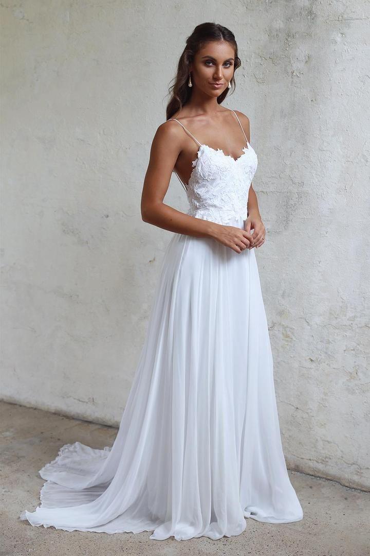 A line Spaghetti Straps Lace Informal Boho Wedding Dress
