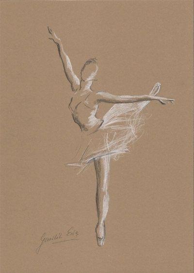 ORIGINAL pencil drawing 12 x 8 on BROWN paper of by EwaGawlik, $26.00