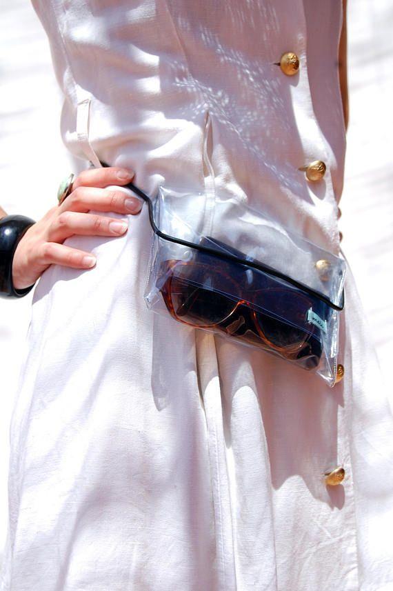 Mini pochette clutch borsa mare tracolla trasparente