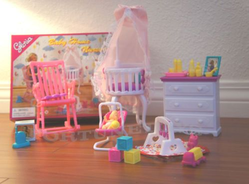 Gloria Doll House Furniture Baby Home Nursery W Canopy Playset For Barbie Barbie Home And Babies