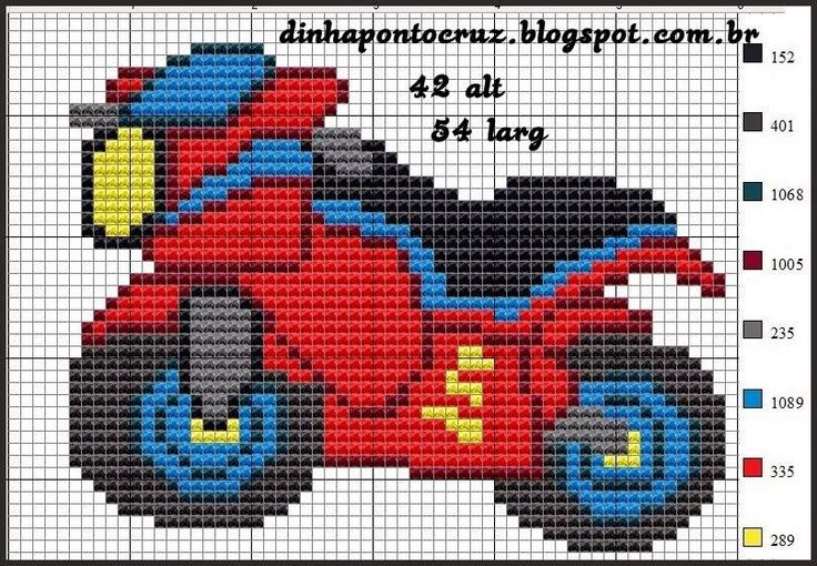Motorcycle x-stitch