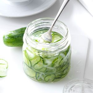 Freezer Cucumber Pickles Recipe: When I first started to make these crunchy and satisfying pickles, I wasn't sure if freezing cucumbers would actually work. To my surprise, they come out perfect! Now I make enough to take them to picnics or give as gifts to friends and neighbors. —Connie Goense, Pembroke Pine, Florida