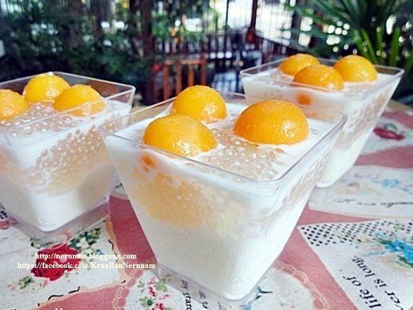 สาคูแคนตาลูปนมสด ขนมไทยหวานหอมเย็นชื่นใจ